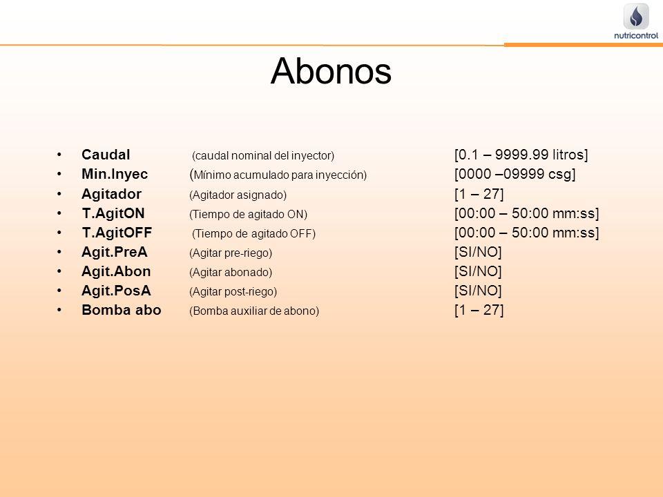 Abonos Caudal (caudal nominal del inyector) [0.1 – 9999.99 litros]